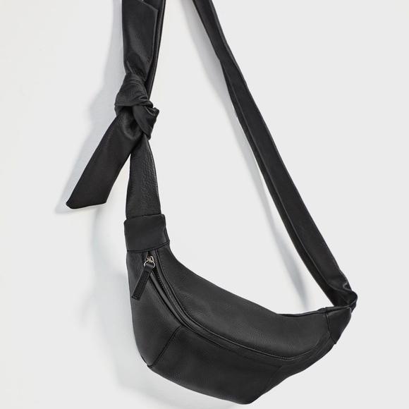 764844b07f0 Zara Genuine Leather Belt Bag Fanny Pack Side Knot
